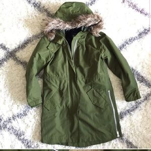 Madewell Olive Green Fur Jacket